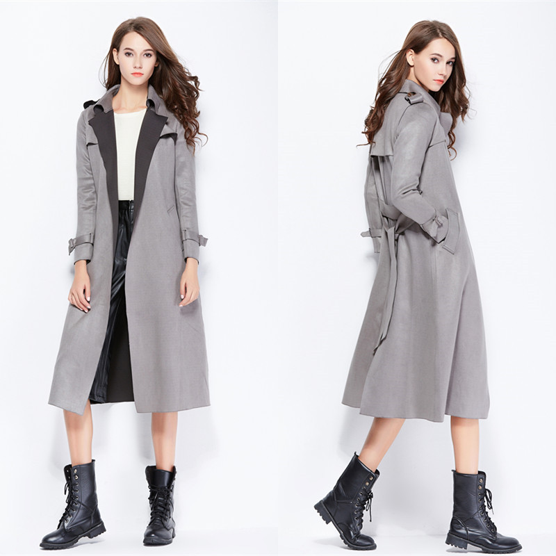 europe spring autumn ladies slim long trench coat casual gray camel black suede trenchcoat. Black Bedroom Furniture Sets. Home Design Ideas