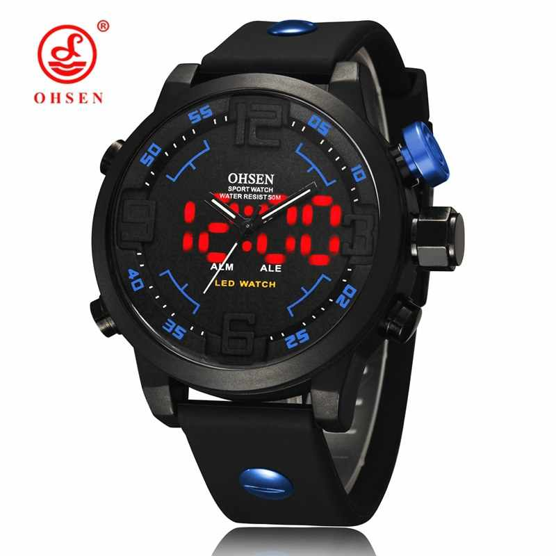 OHSEN AD2820 Men Silicone Sports Led Digital Watch Analog Quartz Watch Big Dial Double Movement 5ATM Water Resistant