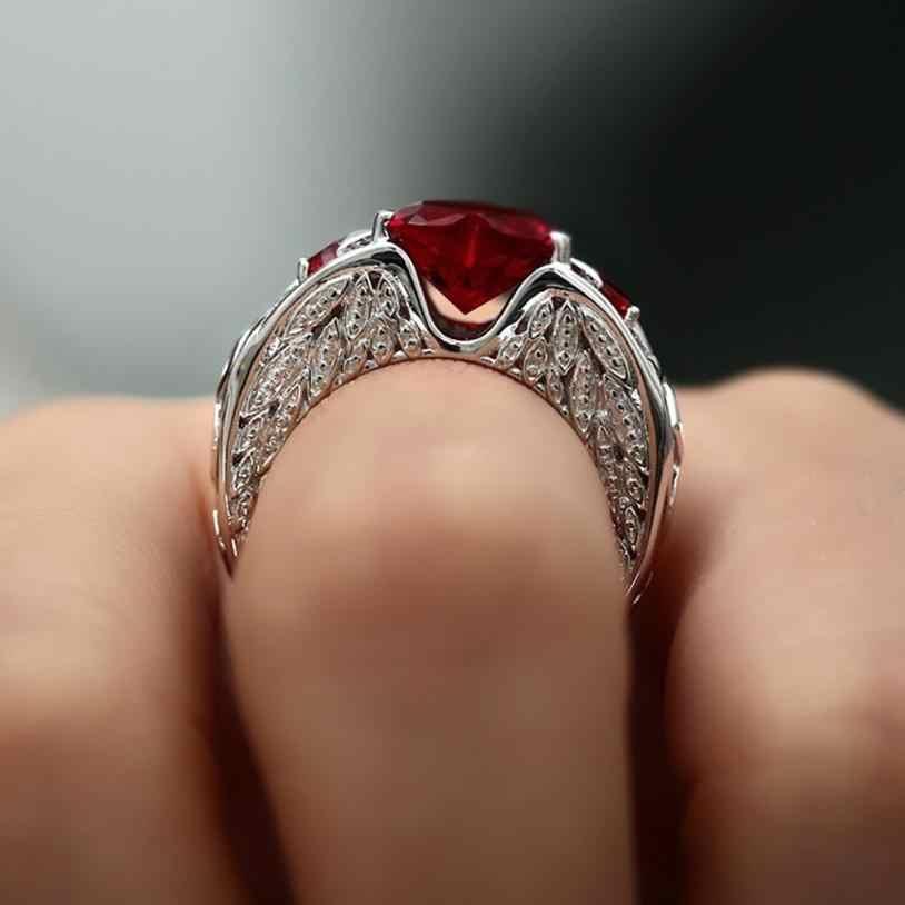 Stilvolle Natürliche Ring Birthstone Braut Hochzeit Engagement Herz Ringe Schmuck Zubehör Schöne Ring Ornamente Sets Geschenke