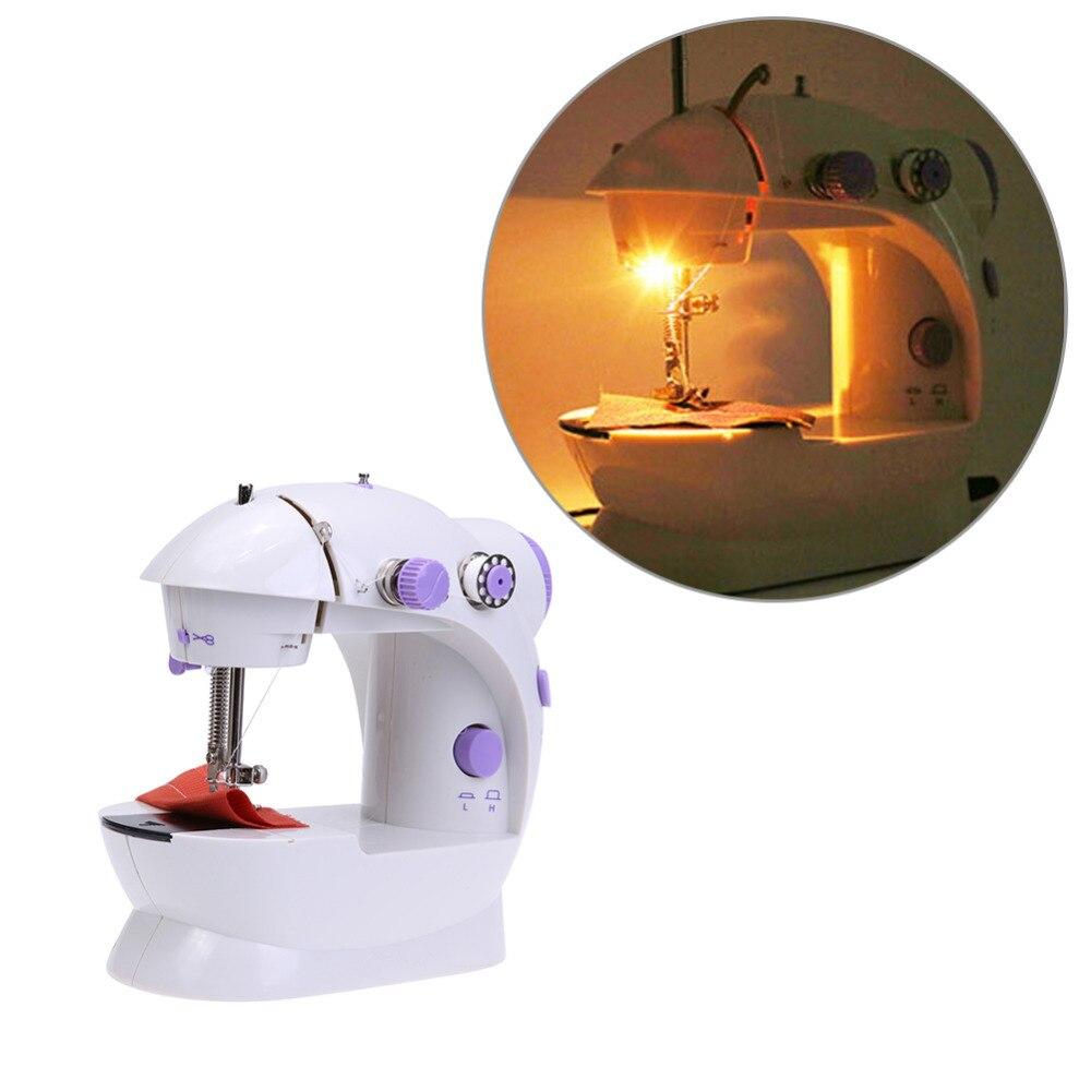 Mini eléctrico de la máquina de coser de mano 2018 Dual de ajuste de la velocidad con la luz pie AC100-240V doble hilos Pendal máquina de coser