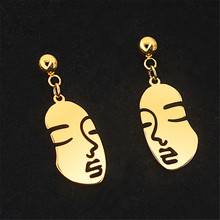 Fashion titanium steel face earrings stainless Metal rose gold studs for women jewelry accessories