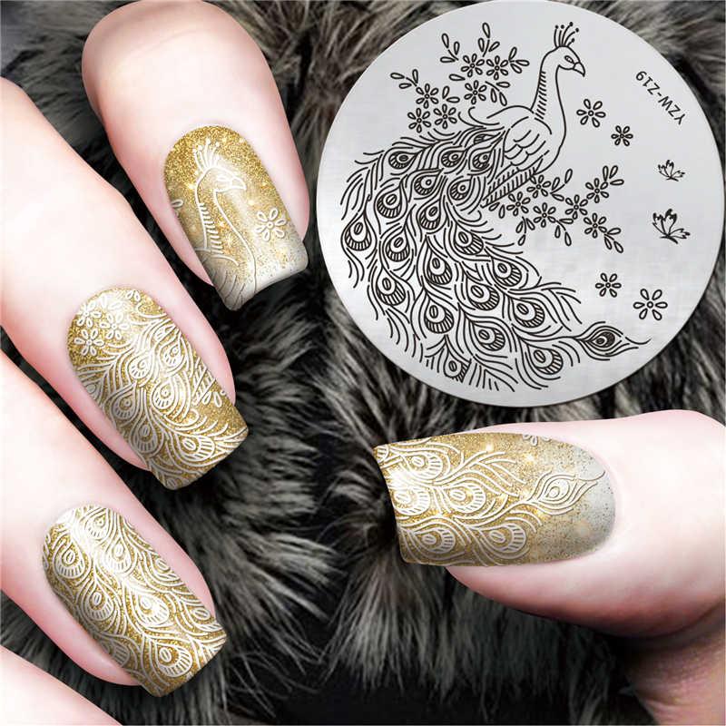 Nuevo diseño de pavo real decoración de uñas placas de estampado de acero inoxidable sello de uñas plantillas de herramientas de impresora de manicura sello de uñas Stenci # YZW-Z19