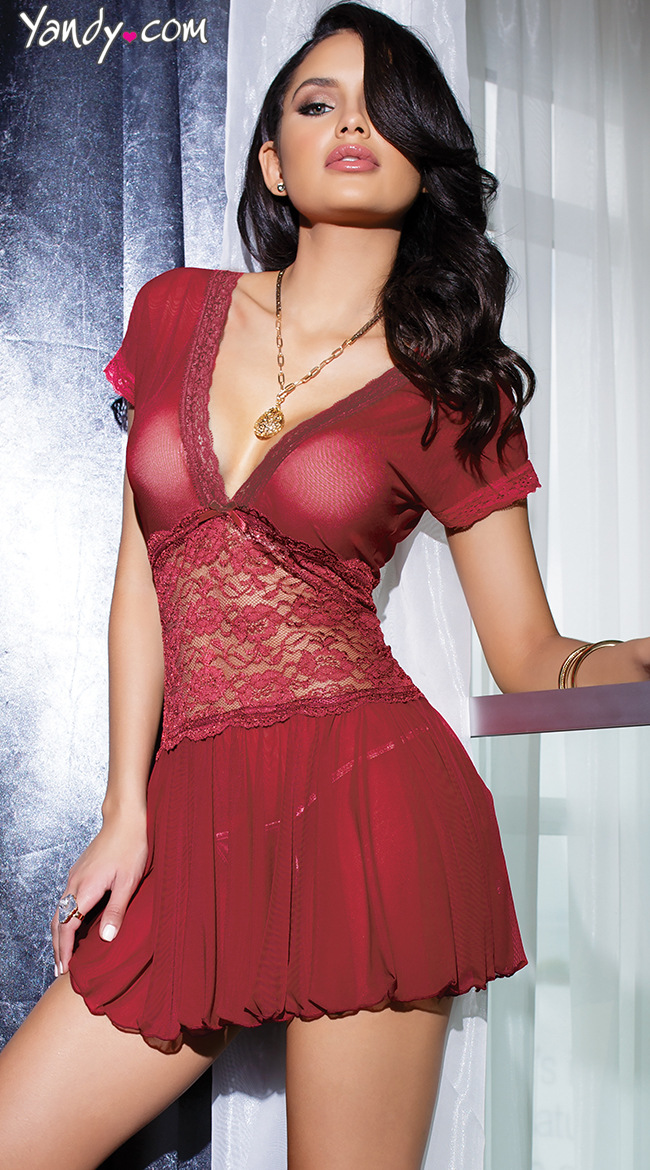 Erotic Sexy Lingerie Porn Dress Women Red Deep V Neck -1644
