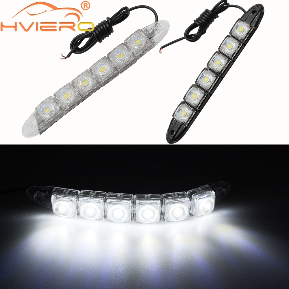 цена на 2X Car Styling DRL Daytime Running Lights 6LED White Waterproof Bright Flexible Driving Fog Bulb Warning Lamp DC 12V Auto Led