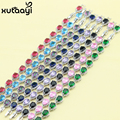 925 Silver Jewelry For Women Water Drop Multi-Color Created Amethyst Fashion Link Chain Bracelets Length 18+2cm Free Box
