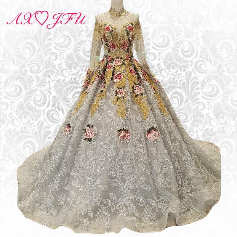 AXJFU Luxus hercegnő szürke csipke gyöngyös hímzés virág esküvői ruha vintage magas nyakú esküvői ruha 100% igazi fotó 6471