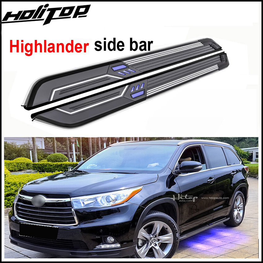 New arrival LED light running board nerf bar side step for Toyota Highlander/Kluger 2014-2018, can load 300kgs,ISO9001 quality