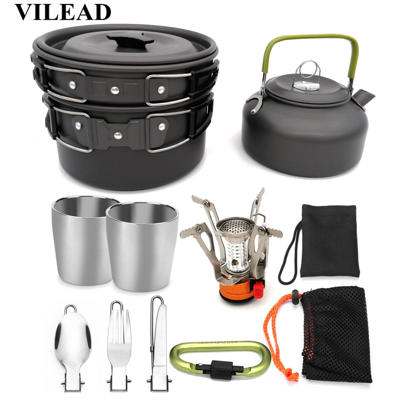 VILEAD Portable Camping Cookware Set Outdoor Hiking Cooking Folding Pots Pans Kettle Tableware Cup Knife Fork Spoon Gas stove-in Camping Cookware from Sports & Entertainment