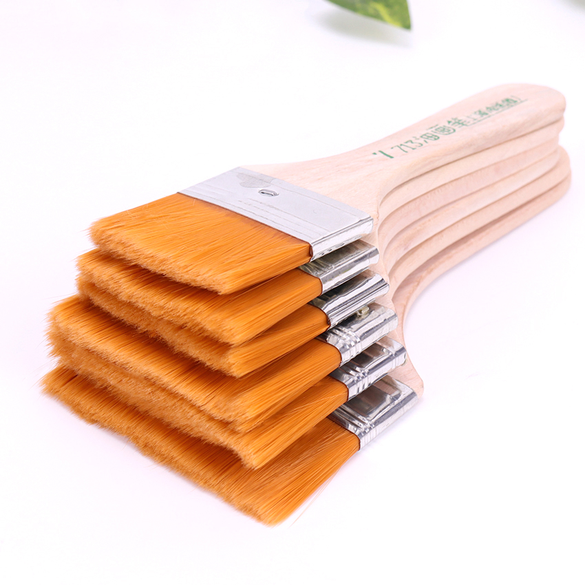 7-12# Styles Wooden Oil Painting Brushes Artist Watercolor Paint Brush Different Size Nylon Hair Painting Brush Set Art Supplies