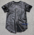 2016 Men's Leather Hip Hop Extended t shirt Zipper Design KANYE WEST Tee Shirts Man Streetwear Brand Clothing