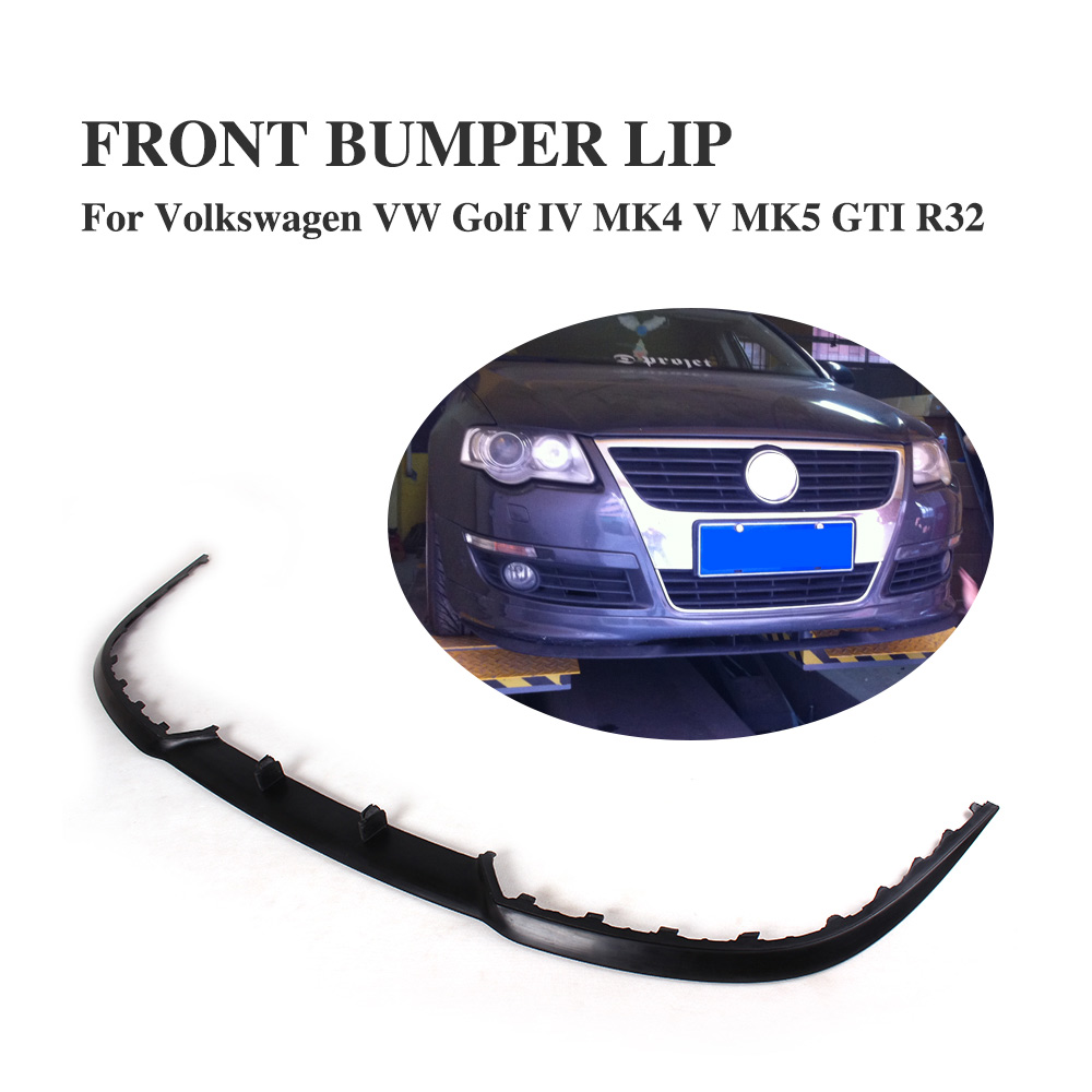 PU Front bumper Lip Spoiler Apron Fit For VW Golf MK4 MK5 GTI R32 Unpainted universal pu grey front lip chin spoiler bumper guard for volkswagon vw golf 4 iv mk4 standard 1998 2004 non gti car styling