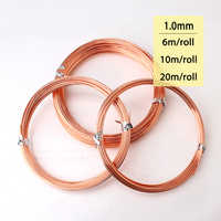 1mm 18 Gauge 99.9% Pure Bare Copper Soft Wire Coil for Jewelry Crafts Making 6m 10m 20m/roll Natural Bare Uncoated Copper Wire