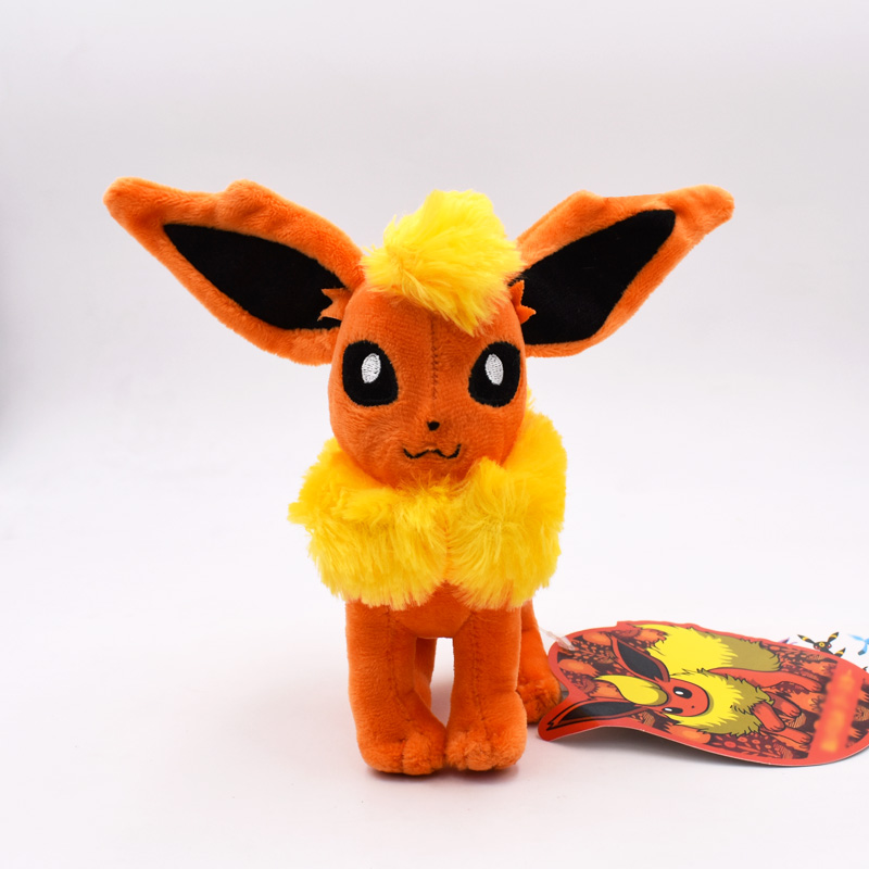 Free Shipping 17cm Anime Cartoon Eevee Standing Flareon Peluche Soft Stuffed Toy Kids Plush Doll Gift Dolls Kid Present