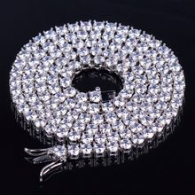 TOPGRILLZ 2.5mm-10mm Iced Out Bling AAA Zircon 1 Row Tennis Chain Necklace Men Hip hop Jewelry Gold Silver Rose Gold Charms(China)