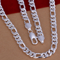 Wholesale 925 Silver fashion jewelry 10mm wide thick figaro chains for men's fashion trendy jewelry party wedding 24inch N013