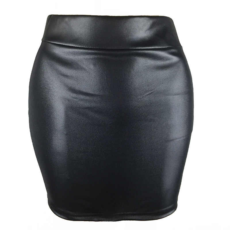 S-XXXL Wanita Pu Kulit Pendek Rok Warna Solid Tinggi Pinggang Slim Hip Pensil Rok Vintage Bodycon Rok Sexy Clubwear