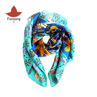 Silk Square Scarf Fashion Cute Curly Tail Cat Print Scarf For Women Ponchos and Capes Multi functional Decoratiion Shawl