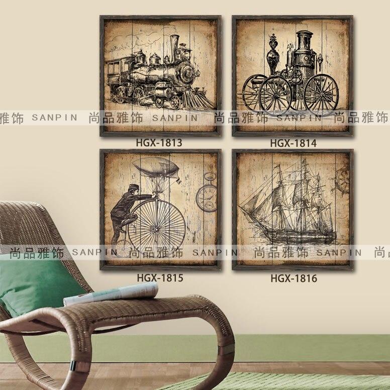 Vintage Industriellen Stil Wohnzimmer Im Europäischen Stil Wandmalereien  Gerahmte Dekorative Wandmalerei Gemälde Gemalt Holz Fra In Vintage  Industriellen ...