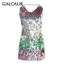 GALCAUR Kleurrijke Lovertjes Patchwork Sexy Vrouwen Jurk Off Shoulder Hoge Taille Backless Bandage Slim Party Vrouwelijke Mode 2019(China)