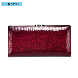 Image 3 - VICKAWEB Long Thick Wallet Female Fashion Alligator Purse Women Genuine Leather Standard Wallets Hasp womens wallets and purses