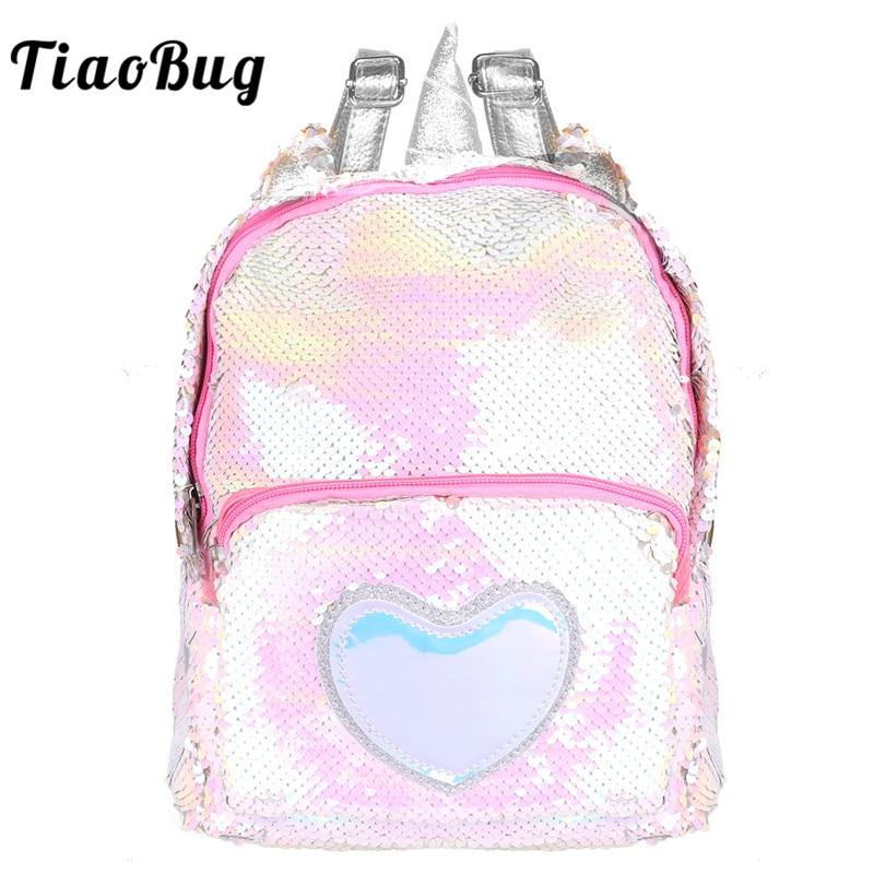 TiaoBug Kids Girls Dazzling Glitter Sequins Horn Ears Ballet Dance Bag Backpack Child School Shoulder Travel Bag Satchel Daypack