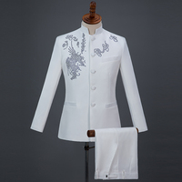 New Fahsion Chinese Style Mens Business Stage Dress Suits Chorus Performance Show Diamonds Printed Stand Collar Casual Suit Blue