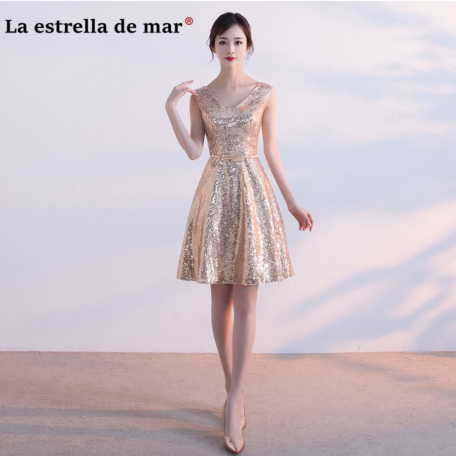 vestido madrinha 2019 New Sexy V Neck a Line Gold Belt Rose Gold Sequins   Bridesmaid     Dress   Short Cheap robe demoiselle d'honneur