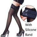 Women Lace Top Stockings,Black/White 30D Ultrathin Sheer Silk Over Knee Thigh High Hosiery,Sexy Silicone Band Stay up Stockings