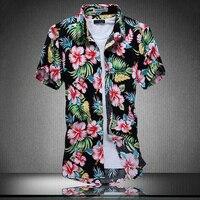 Ahkuci 2017 새로운 남성 짧은 소매 하와이 셔츠 여름 스타일 꽃 남성 캐주얼 해변 하와이 셔츠 F M-5XL 남성 블라우스