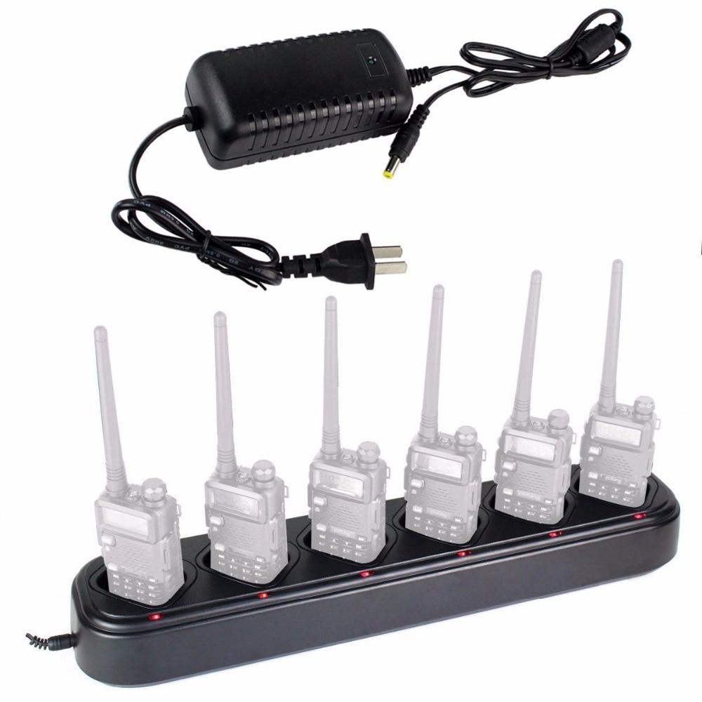 6 Way Multi Universal Rapid Desktop Battery Charger for Baofeng Pofung Walkie Talkie UV 5R UV
