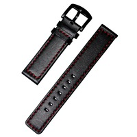 BREAK Black Red Genuine Leather Watch Strap For Men Women 20mm Genuine Leather Watch Band