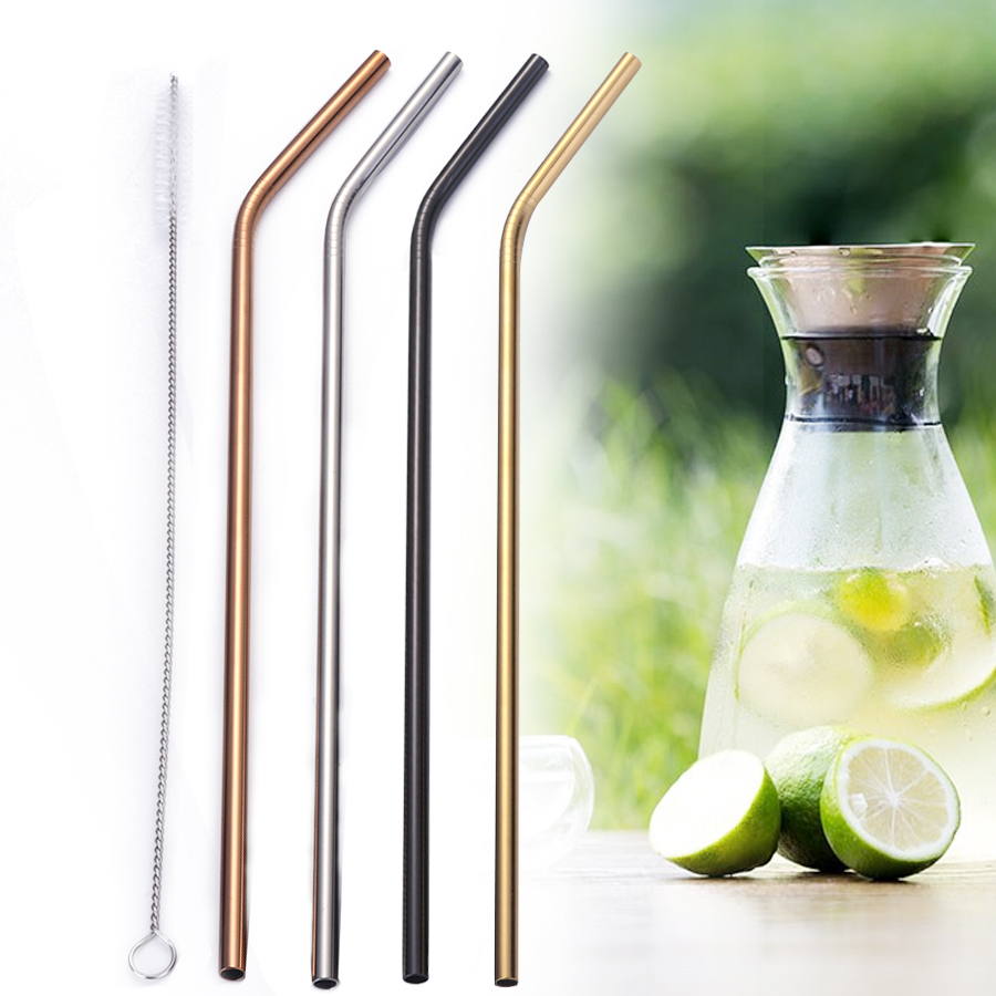 Hot Metal Straw Colorful Aluminum Drinking Straws Food Grade Juicy Reusable Straws Cleaner Brush Set Stainless