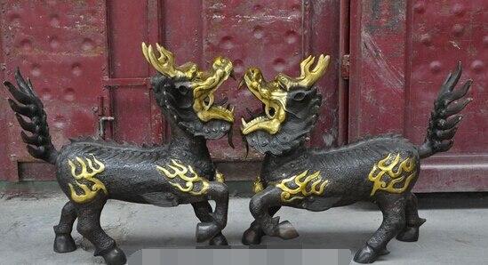 Ev ve Bahçe'ten Statü ve Heykelleri'de Bi003141 çin bronz yaldız ejderha başkanı canavar Kirin Kylin Unicorn kötü ruhları heykeli çifti title=