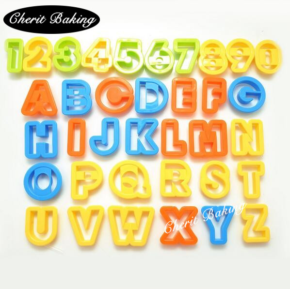 1 Set/36pcs Easy Cutter Capital Letter Alphabet Number Cookie Cutter Set Cake Tool Decorating Fondant Press Pastry DIY Ямча