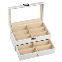 Белая коробка для хранения очков, 12 слоев фланелевых солнцезащитных очков, вертикальная двойная коробка для очков, прозрачная коробка
