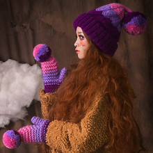 Симпатичные Шапочки и Перчатки и Шарф Костюм Женщины Зимние Шапки Теплый 100% Ручной Вязать Шляпу Подарок