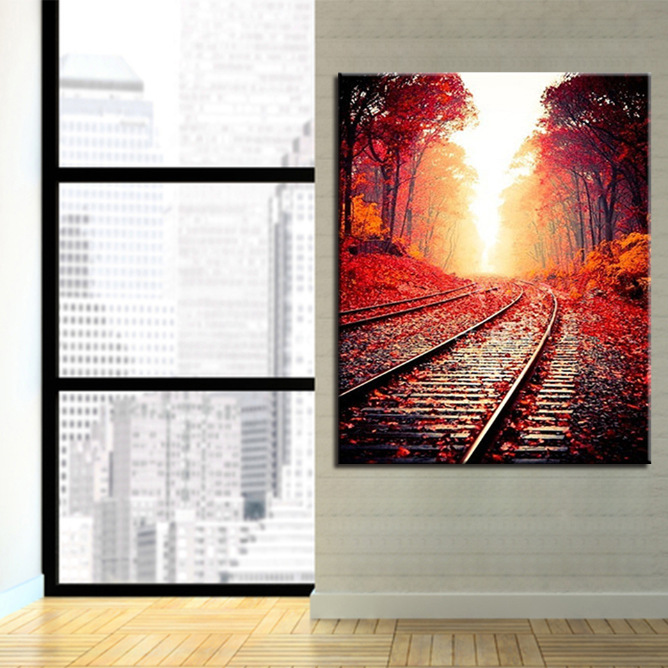 Kits Coloring Framed DIY Art Painting Railway Tree Landscape For Children Unque Gift Photo Wall Picture Oil Modular By Numbers