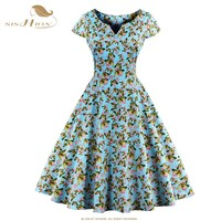 SISHION Summer Autumn Dress S 4XL Women Cap Sleeve Blue White Black Polka Dot Floral Print