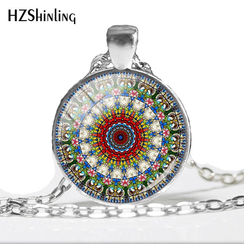 Photo Cabochon Glass Silver Chain Pendant Necklace Mandala-Art