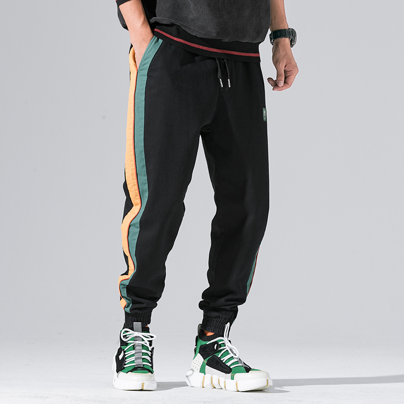 Street Fashion Men Jeans Black Color Stripe Spliced Vintage Japanese Style Casual Jogger Pants Loose Fit Hip Hop Tapered Pants