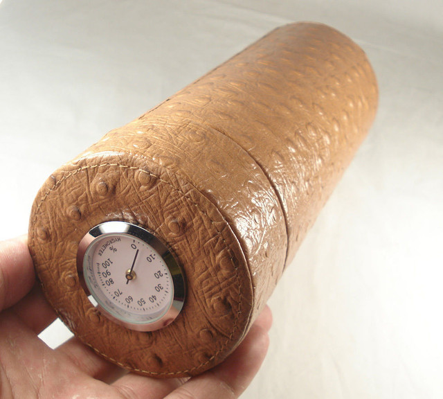 Brown Cigar Humidor / Case Leather Travel Cigar Tube Jar Humidor with Hygrometer