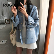 RUGOD Ins popular women knit cardigan korean chic turn-down collar ladies sweater Fashion single-breasted pockets overwear femme