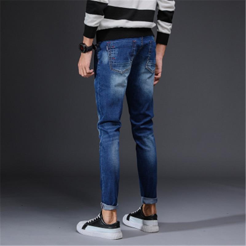 New fashion mens youth pop jeans Korean Slim stretch thin feet pants trousers Korean Slim stretch feet thin section tide