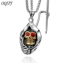OQEPJ Gothic Red Stone Eye Skull Necklace Pendant 316L Stainless Steel Titanium Men Necklaces Half Gold And Silver Color Jewelry