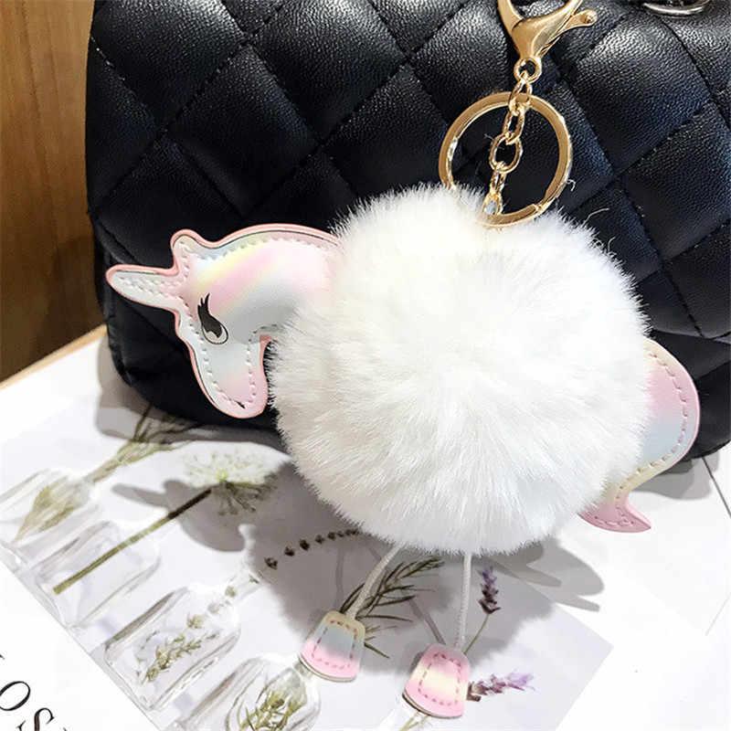 Unicórnio pompons pom keychain Artificial pele de coelho bola pompom mulheres cadeia saco chave do carro chaveiro porte clef titular fofo pom pom