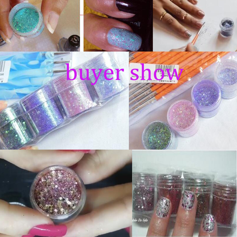 Image 5 - 4pcs/set(4color /set) X10ML mix Nail Art Glitter Powder,0.2mm 1mm 2mm glitter 3D Nail Art Decoration For nail art decoration,45-in Nail Glitter from Beauty & Health