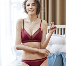 Shaonvmeiwu New no sponge triangle cup ladies lingerie red temptation Ben life bra set steel ring ultra-thin style
