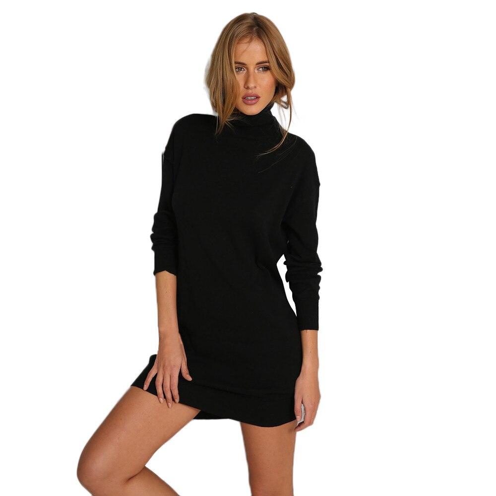 US $9.62 20% OFF|Winter Thick Warm Solid Fashion Dress Women Long Sleeve  Turtleneck Black A Line Bodycon Mini Short Dress robe femme Vestido-in ...