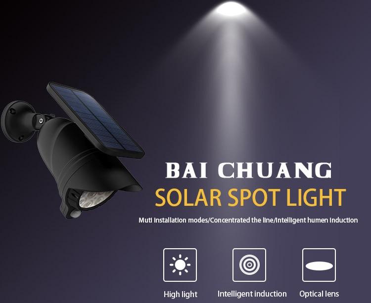 Wall Installation Solar Spot Flood Light Three Mode LED Light with Automatic Light Sensor & Automatic Human Sensor Energy Saving_F2
