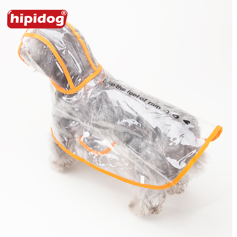 Hipidog Dog Clothes Transparent Poncho Raincoat Light Waterproof Beautiful Small Hooded with Letters
